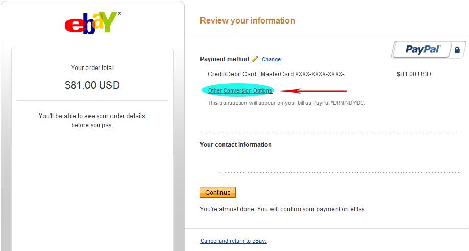 Конвертация валют на ebay