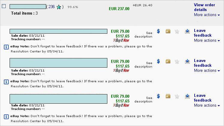 eBay Note - по лотам ценой на 263,40EUR с доставкой - май 2011г