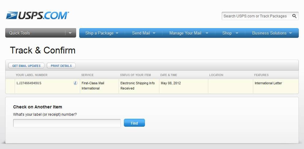 LJ274664949US на сайте USPS - Track & Confirm