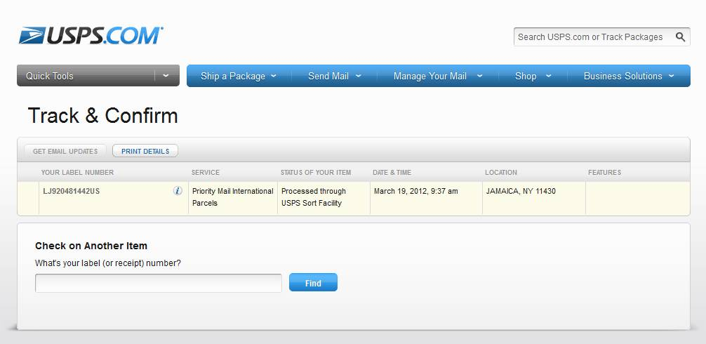 LJ920481442US на сайте USPS - Track & Confirm