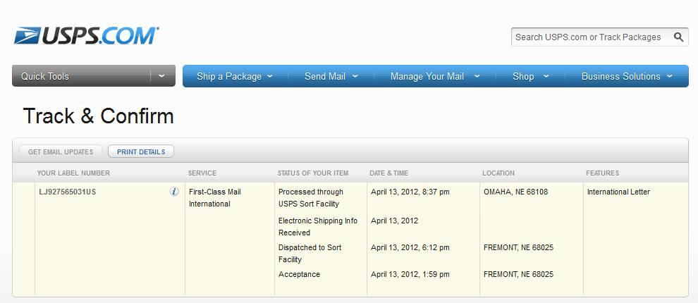 LJ927565031US на сайте USPS - Track & Confirm