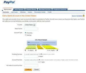 Добавление банковского аккаунта в PayPal