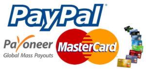 PayPal, Payoneer, MasterCard