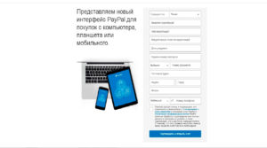 Интерфейс ввода данных PayPal